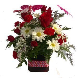Red & White arrangement with butterflies