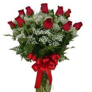Dozen Roses Vased