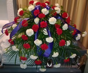Red, White & Blue casket spray
