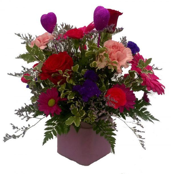 Lavender Cubed Valentine arrangement