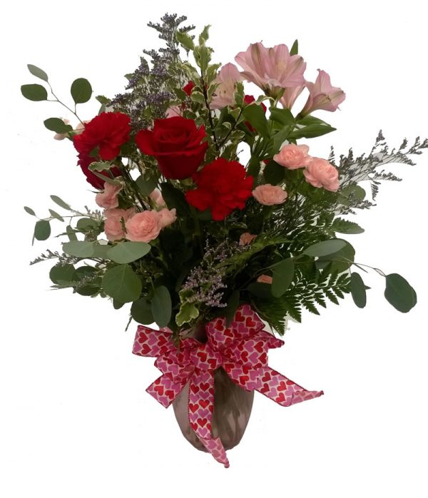 vased valentine arrangement